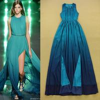 Europe Brand Designer Long Maxi Runway Dress 2015 Summer Women's Elegant Sleeveless Gradient Color Sexy Front Slit Floor Dresses