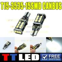 High Quality Super Bright!! 50PCS T15 194 Canbus 2323 15 SMD 15 LED NO ERROR CANBUS 12V 24V DC SMD White Bulbs Car Led #TB120