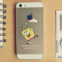 For iphone5 5s 4 4s cases Transparent Spongebob squarepants Grasp the LOGO cell phone cases free Shipping