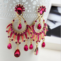 2015 New Fashion Big Shining Crystal Rhinestone Teardrop Silver Gold Dangle Drop Earrings for Women Female Wedding Earring YK202
