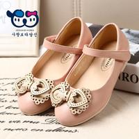 Love 2015 spring female child single shoes girls princess bow cutout leather flat shoe kids fall sweetness flats round toe soft
