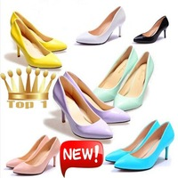 New 2015 Sexy Candy colors fashion women spring mouth pointed toe single ol thin high heels princess high-heeled Pumps shoes