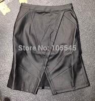 2015 New Fashion sexy women black V bottom evening party pu leather skirts
