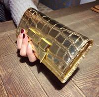 2015 Newest Luxury Gold Genuine Leather Long Wallet Clutch Women Alligator 2Folds Bow Card Holder Phone Bag Change Purse 779e