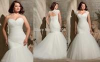 Fashionable Pleated Vestidos De Novia with Lace Plus Size Mermaid Lace up Wedding Dresses 2015 Keyhole Back