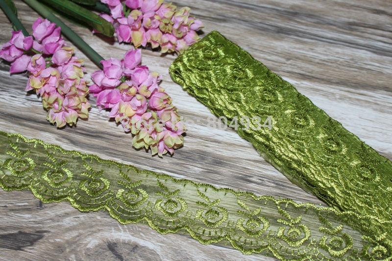 Free Shipping 10yards Embroidered Decorative lace band ribbon sewing Olive green(China (Mainland))