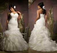 In Fashion Elegant Sweetheart Off the Shoulder with Ruffles and Beads Custom Organza Wedding Dresses 2015 Mermaid plus Size