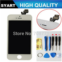 10PCS/LOT No dead pixel!!!!Black and White Color LCD Display Touch Screen Digitizer+ LCD + Frame LCD Assembly For iPhone 5 5g