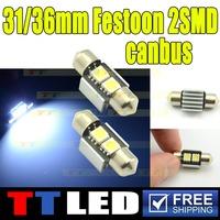 10X white Canbus 12V 31mm 2 SMD 5050 LED Car Auto Light Bulbs LED License Plate Light LED Festoon Light Bulbs DC12V Light #TK15