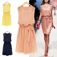 2015 Free Shipping ladies Spring Summer Hot Sale Korean Womens Fashion Chiffon Pleated Bow Sleeveless Shoulder Beads Dress M L X