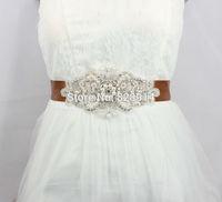 Luxury Rhinestones Applique Brown Color Satin Ribbon Wedding Dress sash Bridal belt Free Shipping Handmade
