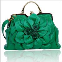 Women High quality Rose flowers bag Tote women leather bags handbag messenger Bag Multi-Color  Free Shipping 2015 New Fashion