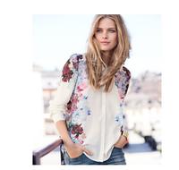 New 2015 Fashion European and American women's Long sleeve Printing lapel shirt T-shirt  tops blouses summer chiffon shirt