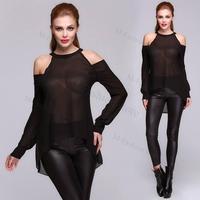 New Fashion Sexy Long Sleeve O-neck Women Off The Shoulder Chiffon T-shirt Blouse