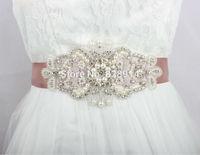 Luxury Clear Rhinestones Applique Wedding Dress sash Bridal belt Free Shipping Handmade