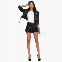 Women Shorts Side Zipper Black Shorts Female Sequins Draped Shorts For Women 2015 New Spring Summer Women ShortS Free Shipping