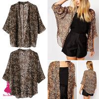 2015 Bohemia Vintage Sexy Women Leopard Print Kimono Chiffon Blouse Shirt Jacket Top