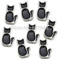 Black Enamel Cat  Floating Charms Floating Locket charm Fits Living lockets 20pcs/lot Free shipping