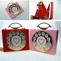2015 Trendy Ladies Clock Day Clutch Handbags Chain one Shoulder Messenger Bags Women Bag Latest Mini Coin Purse Clutches #BA371