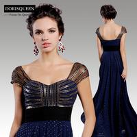 2015 New arrival Dorisqueen original design free shipping open back elegant 31311 sequins crystal long sexy blue evening dresses
