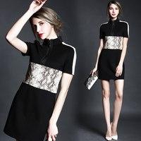 Free ship A4600 2015 stand collar short-sleeve serpentine pattern print PU patchwork women ladies casual dress wholesale va1905