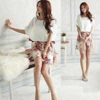 Lower Price!  2015 Dress Summer Ladies Chiffon OL Women Short Sleeve Flower Dress Plus Size vestidos femininos dresses for women