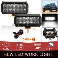 2x 60W OSRAM LED Light Bar 7 inch Flood Spot Offroad Light Bar 12V 24V Led Work Light + Wire relay Off Road led bar SUV 4x4 4WD