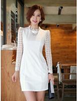 NEW ARRIVAL 2014 Autumn Korean Office Fashion Elegant Gauze Patchwork Long Sleeve Pencil Dress Women's White/Black Dresses