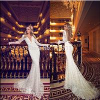 Elegant Chic Mermaid Deep V Neck Sweep Train Lace Long Sleeves Sexy Backless Wedding Dress