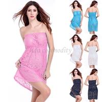 Free Shipping Drop shipping 2015 new Lady's lace Sunscreen Swimwear Bikini Cover Up Beach Holiday Tops women Dress Multi