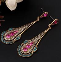 LR173 CZ Earrings - crystal earrings female Elegent Gold drop Enamel Shape Long Drop Earrings