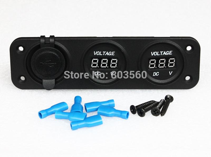 WATERPROOF USB CHARGER SOCKET + DUAL LED DIGITAL BATTERY VOLT VOLTAGE GAUGE TESTER VOLTMETER SOCKETS FOR MARINE GRADE BOAT CAR(China (Mainland))