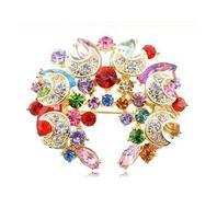 AH054 Nice Fashion New Style Half Moon Shape Crystal Flower Brooch Pins