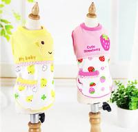 2015 new pet dog fashion cartoon printing vest pink yellow doggy shirts dogs hoodies pets supplies puppy clothes 1pcs/llot