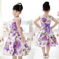 On Sale Vestido 2015 Summer Girls Kids Dress Sleeveless Flower Princess Bowknot Casual Dress Kids Clothes Purple 2-8Y