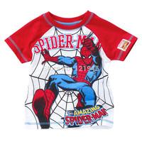 retail 1~6years 2015 new summer brand baby children clothing tops cotton cartoon spiderman casual baby boys T shirt 5156