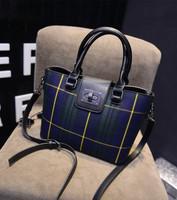 2015 women's plaid canvas handbag fashion bag color block bucket vintage shoulder bag handbag messenger bag