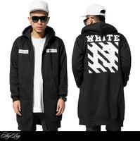 HOT , PYREX OFF WHITE 2015 Brand new fashion hip hop street men hoodies lengthen printed zipper sweatshirt sweater coat