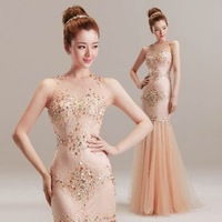 Sexy Mermaid Trumpet Prom Dresses O-Neck Double shoulder Beading Crystal Motifs Adorn Floor Length Tulle Pageant Dresses Custom