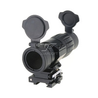 JJ Airsoft 4x FXD Magnifier with Adjustable QD Mount and Killflash / Kill Flash (Black)