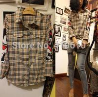 BURBERRV lattice sleeves printed Mickey two fabrics combining shirt