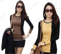 2015 Autumn Winter Women Shirt Sport Suit Casual Fashion Tracksuits Female Slim Hoodies Color Block Patchwork Cotton Sweatshirts