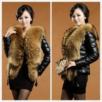 ladies Arrival Winter Women Fashion Faux Fur Raccoon Fur Collar Coat Imitation Sheepskin Covered Button Leather Jacket Fur Coat