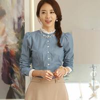 Fast/Free shipping 2015 Korean Spring Clothing Casual Blusas Femininas Slim Jeans Denim Blouse Women Blouses C6399