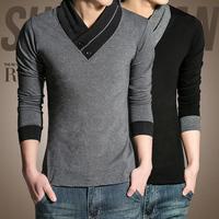 2014 Hot Sale Men T shirt Fashion T-shirts Spring Wear Long Sleeve tshirt men Plus size XXXL Free Shipping