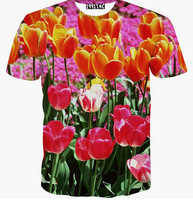 [Alice]free ship Beautiful flowers whole clothing print 3d t shirt men's summer casual T-shirt new tees M-XXL T1526