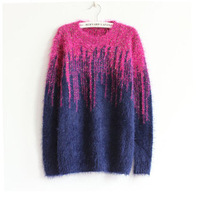 New Come Hot Sale  Women's Gradual Change Mohair Sweater Solid Soft Sweater Winter &Autumn Loose Good Quality Sweater 1pc/Lot