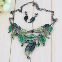 Retro Groovy Alloy Leaf Shape Chain Crystal Pendant Necklace Earrings Set