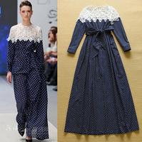 2015 Spring Brand Runway Designer Long Dresses Woman Elegant Long Sleeve Lace Patchwork Dot Print Floor Length Maxi Dresses Blue