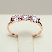 Fashion 18KGP Gold Silver Crystal 3-Stone Engagement Wedding Ring R57